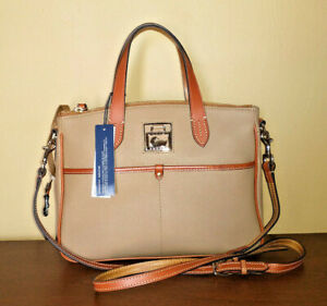 NWT Dooney & Bourke Pebble Leather Double Pocket Beige Taupe Daniela Satchel Bag