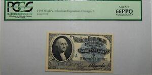 1893 PCGS 66PPQ GEM NEW - ILLINOIS,CHICAGO ADMIT ONE WORLD'S COLUMBIAN EXPO 22EC