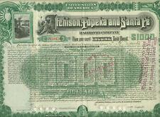 1889 ATCHISON TOPEKA & SANTA FE RAILROAD COMPANY $1,000 BOND CERTIFICATE