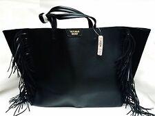 Victoria's Secret BLACK FRINGE Faux Leather Tote Travel Bag Weekender OVERSIZED