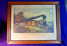 Antique CURRIER & IVES PRINT 1864 AMERICAN EXPRESS TRAIN FRAMED LITHOGRAPH
