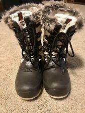Womens Quest White Brown Rubber Lace Up Snow Boots Size 8 Thinsulate