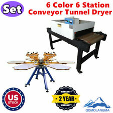 6 Color 6 Station Manual Screen Printing Machine And Conveyor Tunnel Dryer Set