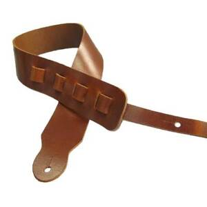 Adjustable Guitar Strap II Full Grain Cowhide Leather Acoustic or Electric - Tan