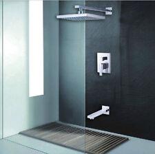 "Chrome Bathroom 8""Rainfall Shower Head Single Handle Mixer Tap W/Tub Spout"