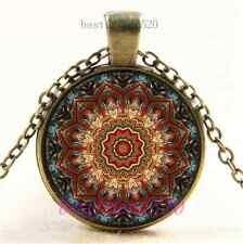 Vintage Mandala Flower Photo Cabochon Glass Bronze Chain Pendant Necklace