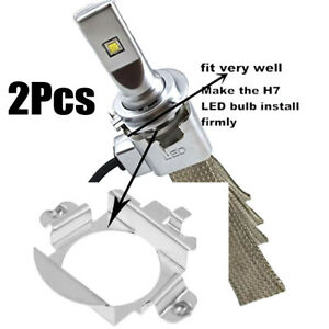 2PCS Car H7 LED Headlight Bulb Adapter Holder Retainer Fit For Audi BMW Benz VW