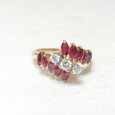 JAYLEN Estate 14K Yellow Gold Natural Marquise Wine Red Ruby Diamond Ring 1 Ct
