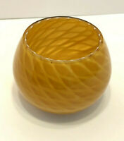 Cased Art Glass Pine Cone Vase Votive Fall Amber Gold Vintage MCM