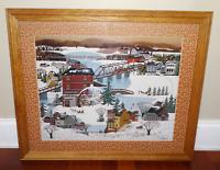 "Vintage Framed ""Morgan's Mill"" Winter Snow Scene Print By Franeck"