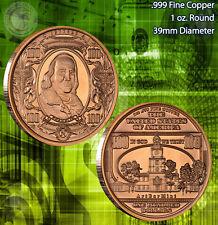 $100 Ben Franklin Banknote Copper 1 oz .999 Copper Round