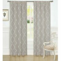 "LAURA ASHLEY Windsor Window 2 Panels 40"" W x 84"" L Taupe Embroidery Curtains NEW"