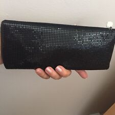 Neiman Marcus metal mesh  zippered bag  in  black