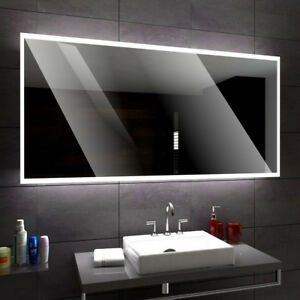 Bathroom Mirror with LED lighting with Weather Station and Light Switch Osaka A08