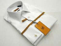 Mens long sleeves Cotton Shirt French Cuffs Wrinkle Resistance ENZO 61102 White
