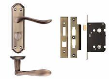 Lincoln Lever Door Handle Bathroom Set - Florentine Bronze Finish - Zoo Hardware