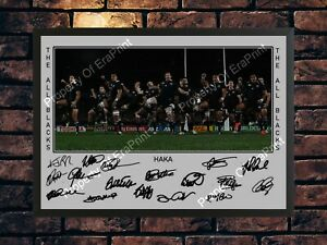 NEW ZEALAND RUGBY ALL BLACKS HAKA SIGNED LIMITED EDITION A4 PHOTO PRINT