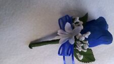 Set of 6 Royal Blue and White boutonnieres or Any Color $10.00 RUSH ORDERS AVAIL