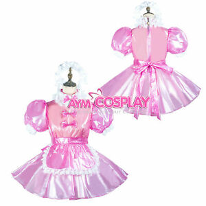 Pre-made US Size 22 -  transparent hptpink clear PVC sissy dress