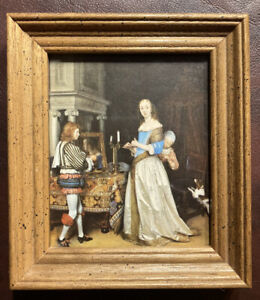 A Lady at Her Toilet by Gerard ter Borch Vintage Framed Mini Print Dutch Artist