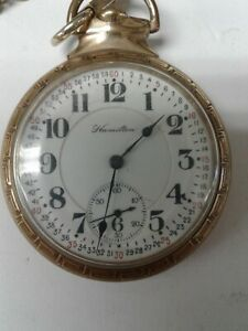 HAMILTON 992 16s 21j RAILROAD MODEL GOLD FILLED Pocket Watch good condition