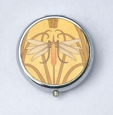 Art Nouveau Dragon Flies Pill case pillbox pill holder design Pattern