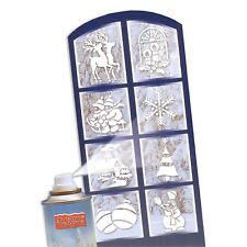 8 Assorted Christmas Party Snow Spray Festive Window Stencils Decorations
