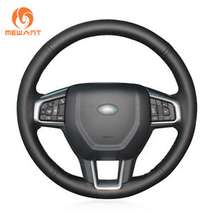 Black Real Leather Steering Wheel Cover for Land Rover Discovery Sport 2015-2017