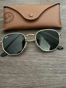 Ray-Ban RB3548N 001 Hexagonal 51-21 Sunglasses Flash Lenses Classic Gold