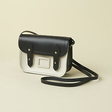 CAMBRIDGE SATCHEL COMPANY Black & Cream Leather Tiny Satchel NEW!