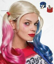 DELUXE WIG AND PONY TAIL COVER SET HARLEY QUINN SUICIDE SQUAD COSPLAY COSTUME