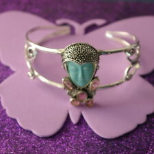 """Goddess Turquoise Color Face & Amethyst Bracelet 7.0-8.0 """" Wide ( WITH DEFECT )"""