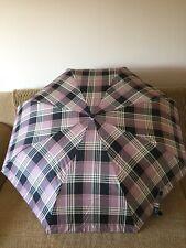 Compact Pull And Push Pink Check Umbrella, Unisex, Lightweight, Rainproof
