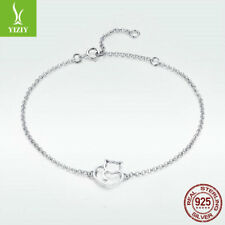 Real 925 Sterling Silver Bracelet Adorable Cat Charm Chain Fashion Women Jewelry