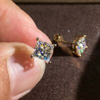 2Ct Princess Cut Moissanite Diamond Solitaire Stud Earrings 14K Yellow Gold FN