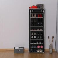 Portable 10 Tier Shoe Rack Shelf Storage Closet Organizer Cabinet with Cover