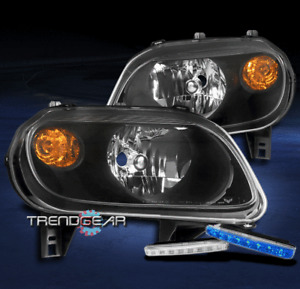 FOR 2006-2011 CHEVY HHR WAGON BLACK HEADLIGHTS HEADLAMPS LAMP W/BLUE LED DRL KIT