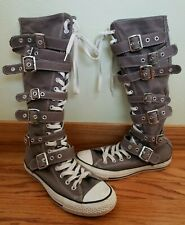 Converse All Star Knee High Sneakers Shoes Gray Buckles Zipper 5.5 Women's 7.5