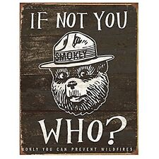 Smokey Bear If Not You Us Forest Service Weathered Retro Decor Metal Tin Sign
