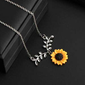 New Sunflower Flower Summer Leaf Charm Necklace Pendent Jewellery Gift Bag