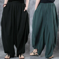 Mode Femme 100% coton Taille elastique Casual Pantalons Sarouel Grande Taille