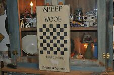 Ex Lg Wood Old Light Tan Sheep Wool Game Board Country Primitive Rustic Folk Art