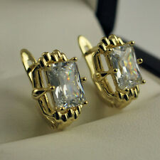 Yellow Gold Filled Clear Square CZ Cubic Zirconia Huggie Hoop Drop Earrings 440