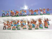 2 Vintage rare Collection Rubber Indians and Cowboys 43pcs GDR Germany 70's