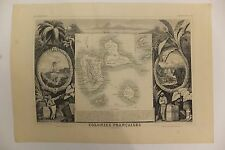 Carte Colonies françaises en Amérique par Levasseur Gravure Guadeloupe 1852