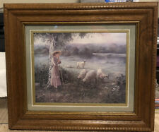 Homco Home Interiors Bettie Felder Picture Thru God's Grace Girl watching Sheep