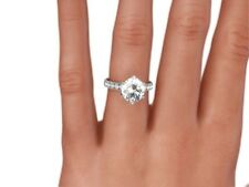 2 CT ROUND CUT D/SI1 PAVE DIAMOND  SOLITAIRE ENGAGEMENT RING 14K WHITE GOLD