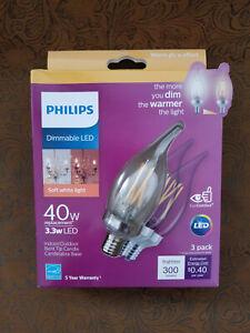 3 pack Philips 40W 40 Watt Equivalent B11 E12 Dimmable LED Bulb Soft White