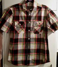 Nuevo En Llamas Rojo Negro Amarillo compruebe Camisa Manga Corta Algodón Talla Pequeña c21