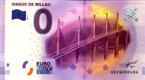 12 MILLAU Viaduc, 2016, Billet Euro Souvenir